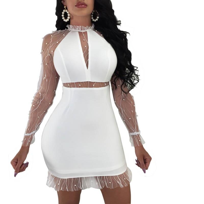 5色女性ボディコンドレス高ウエストシースルードレス長袖夏のレースドレス最新のファッションvestido feminino
