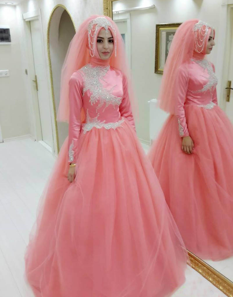 Princess Muslim Pink Ball Gown Prom Dresses Long Islamic Sleeve High