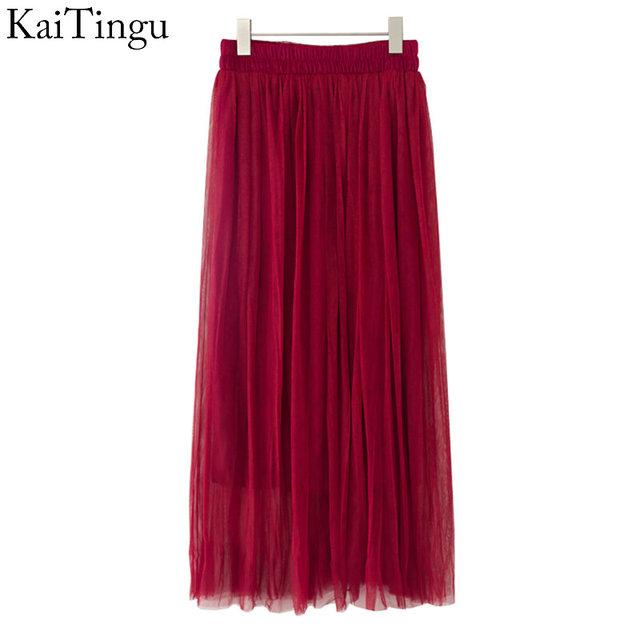 KaiTingu Brand New Fashion 2016 Ladies Wine Red Color 3 Layer Pleated Skirt Long Tulle Skirts Straight Solid Mesh Skater Skirt