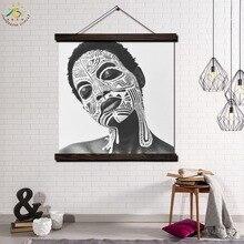 цена Africa Make-up Girl Single Modern Wall Art Print Pop Art Picture And Poster Solid Wood Hanging Scroll Canvas Painting Home Decor онлайн в 2017 году