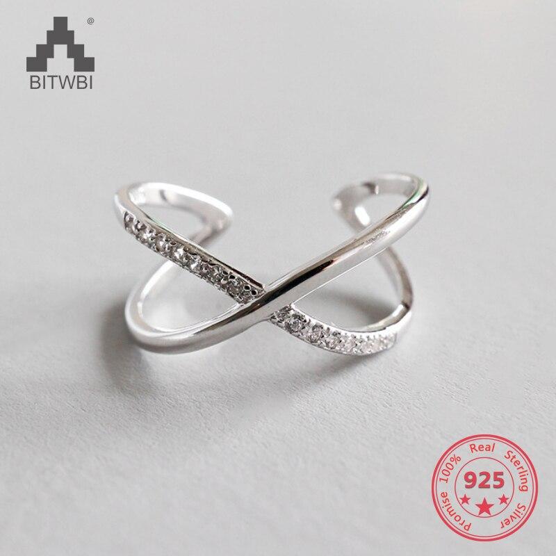 Women Rings Double Layer X Shape Cubic Zircon Silver 925 Jewelry Criss Cross Ring CZ Eternity Girls Long Open Rings