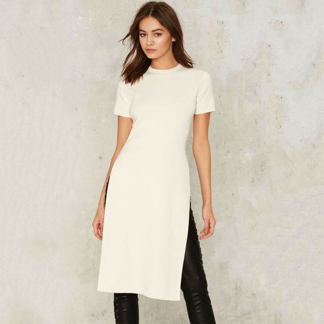 Vagary New Fashion Sexy Side Slit Tees Women High Street Style Tops