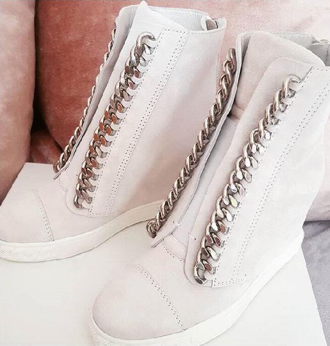 Новая мода белый кожаный Для женщин цепи Туфли без каблуков круглый носок Кружево до увеличился пятки обувь в повседневном стиле на молнии