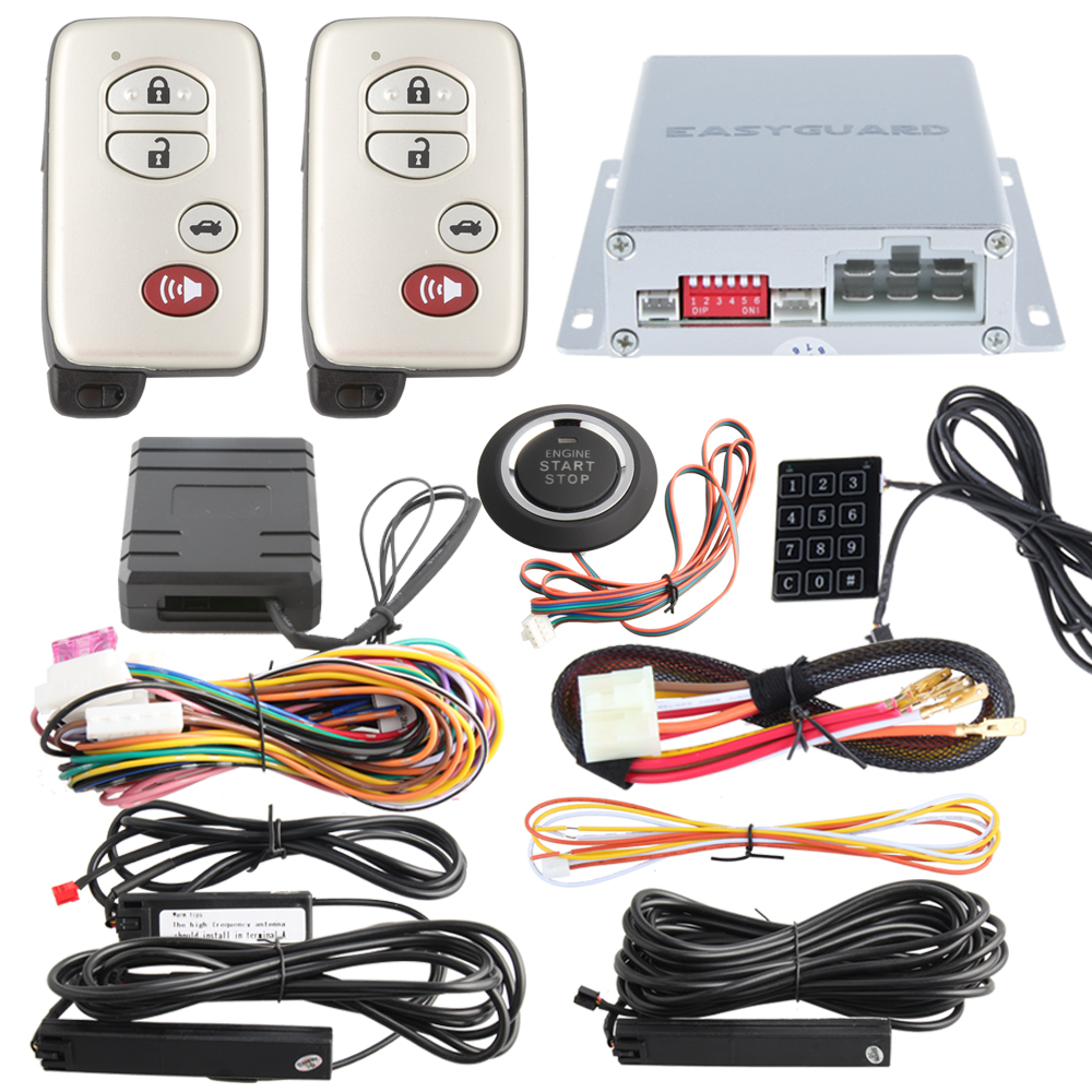 Good quality car alarm kit passive keyless entry immobilizer bypass remote engine start stop
