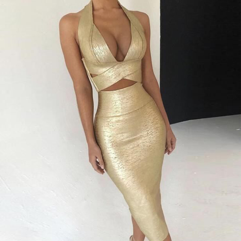 Seamyla 2019 New Bodycon Bandage Dress Women Gold Print Halter Two Piece Sets Summer Sexy Club