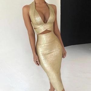 Image 1 - Seamyla 2020 ใหม่ Bodycon ผ้าพันแผลชุดผู้หญิงพิมพ์ Halter 2 ชิ้นชุดเซ็กซี่คลับ Celebrity Dresses Vestidos