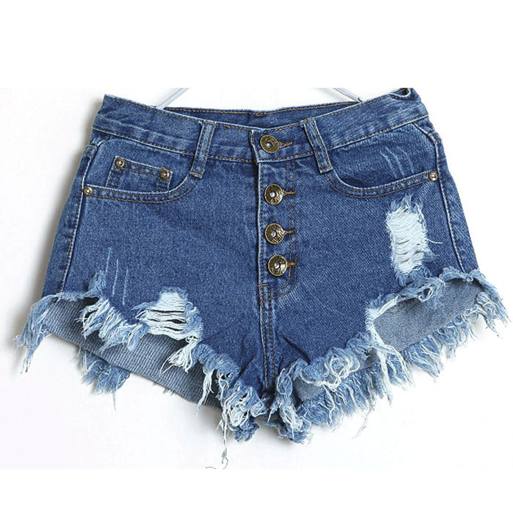 Women's Fashion Brand Vintage Tassel Rivet Ripped High Waisted Short Jeans Punk Sexy Hot Woman Denim Shorts Calzones Mujer