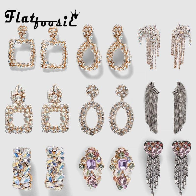 Flatfoosie 2019 New Crystal Drop Earrings Shining Gold Silver Color Bohemian Metal Dangle Earring For Women Wedding Jewelry