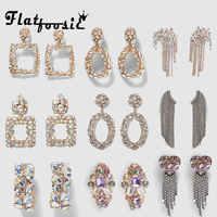 Flatfoosie 2019 ZA New Crystal Drop Earrings Shining Gold Silver Color Bohemian Metal Dangle Earring For Women Wedding Jewelry