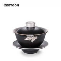 185cc Black Zen Boutique Inlaid Tin Maple Leaf Coarse Pottery Gilded Silver Gaiwan Kung Fu Tea Set Teapot Master Cup Bowl Tureen