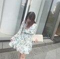 Корея Синий Зеленый Цветочный Печати Пуговицах Рубашка Dress Длинным Рукавом Fit & Flare Skater Dress для Дам S-XL