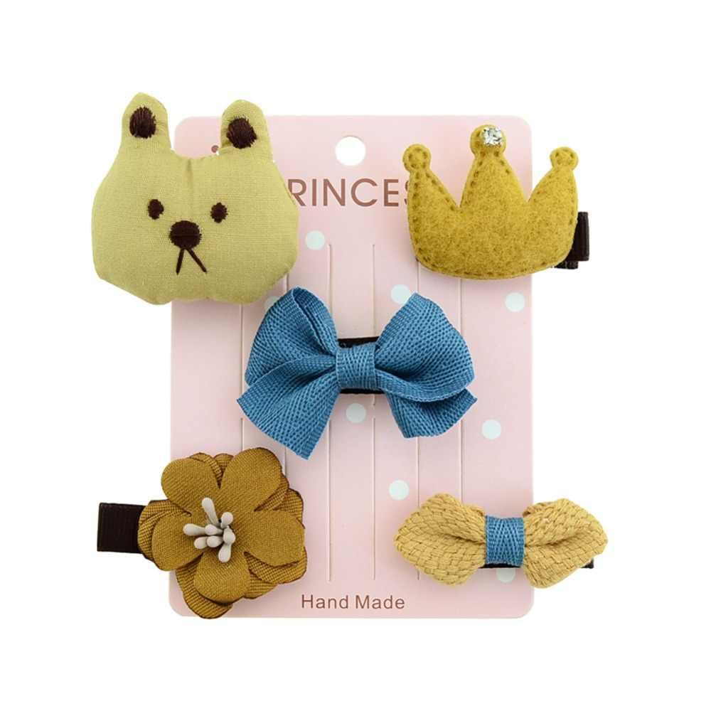 1 комплект, 5 шт., Детская Пряжа со звездами, цветок, панда, лиса, слон, медведь, принт, меховой шар, Микки, заколки для волос, шпильки для волос для девочек, аксессуары 874