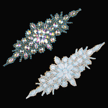 (1pcs lot)Sewing Chic Bling Beaded Rhinestone Appliques Patch Hot Fix  Crystal Trim 03ed97c6239a