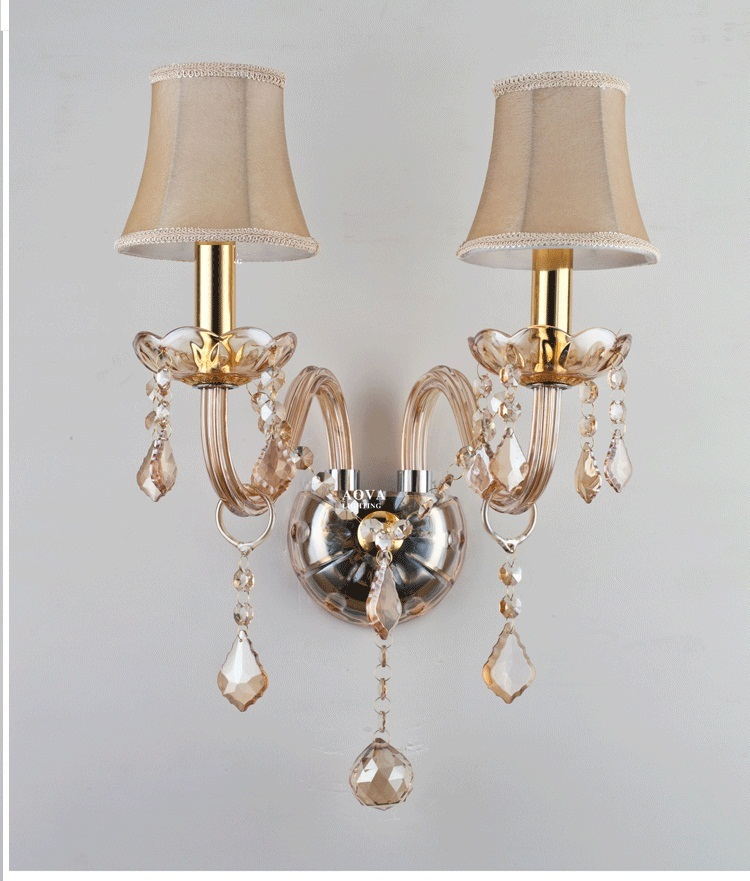 Modern fashion crystal wall lamp ofhead k9 crystal lighting champagne gold wall lamps k9 puppy gold