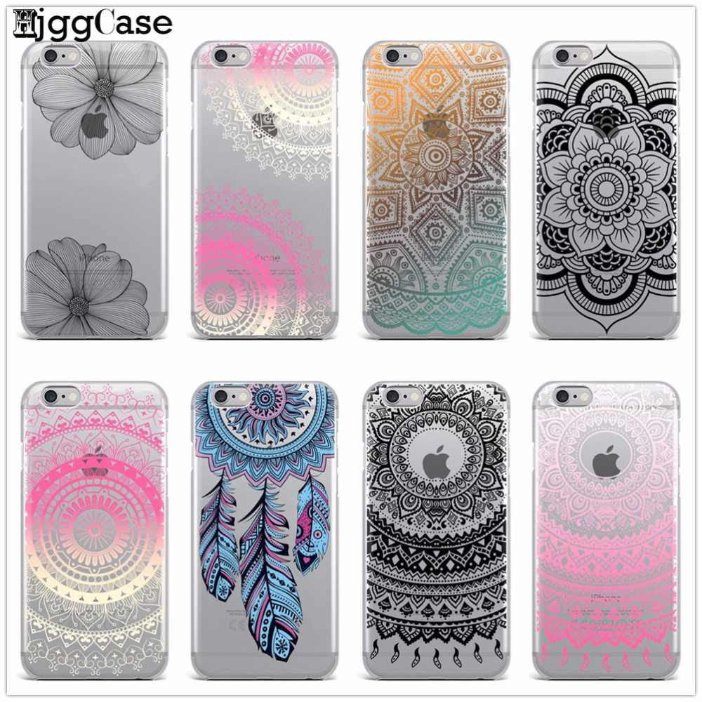Transparante Cover Bloem Paisley Mandala Bloem Henna Silicone Soft TPU Case voor iPhone 6 6 s 5 5 s SE 7 Plus 8 Plus X Case Cover