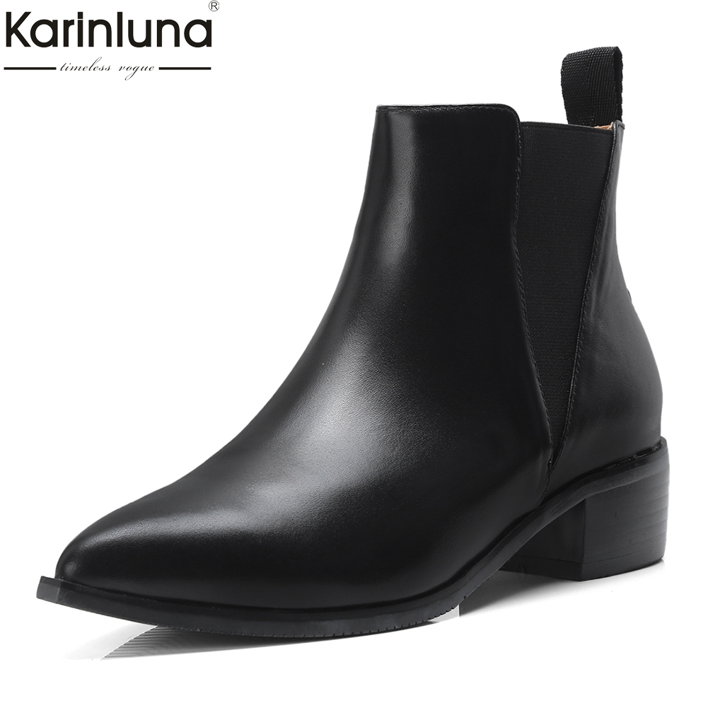 Genuine Cow Leather Pointed Toe Summer Boots Woman Shoes Chunky Heels Elastic Band Shoes Woman Ankle Boots FemaleGenuine Cow Leather Pointed Toe Summer Boots Woman Shoes Chunky Heels Elastic Band Shoes Woman Ankle Boots Female