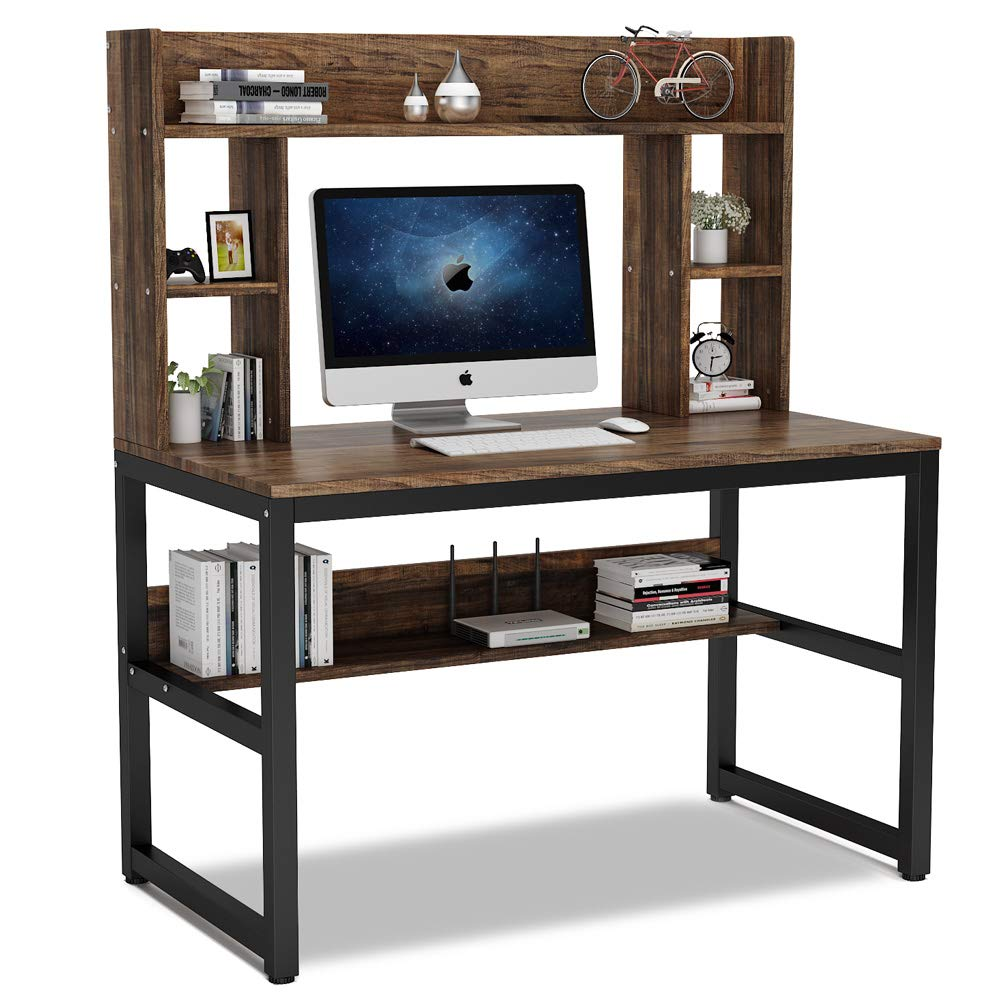 - Computer Desk With Hutch Modern Writing Table With Storage Shelves