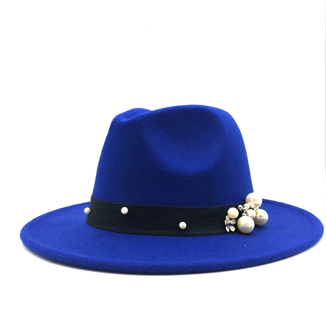 ceb1b7aee500c Wool Fedora Hat Hawkins Felt Cap Wide Brim Ladies Trilby Chapeu Feminino  Hat Women Pearls Jazz Church Godfather Sombrero Caps