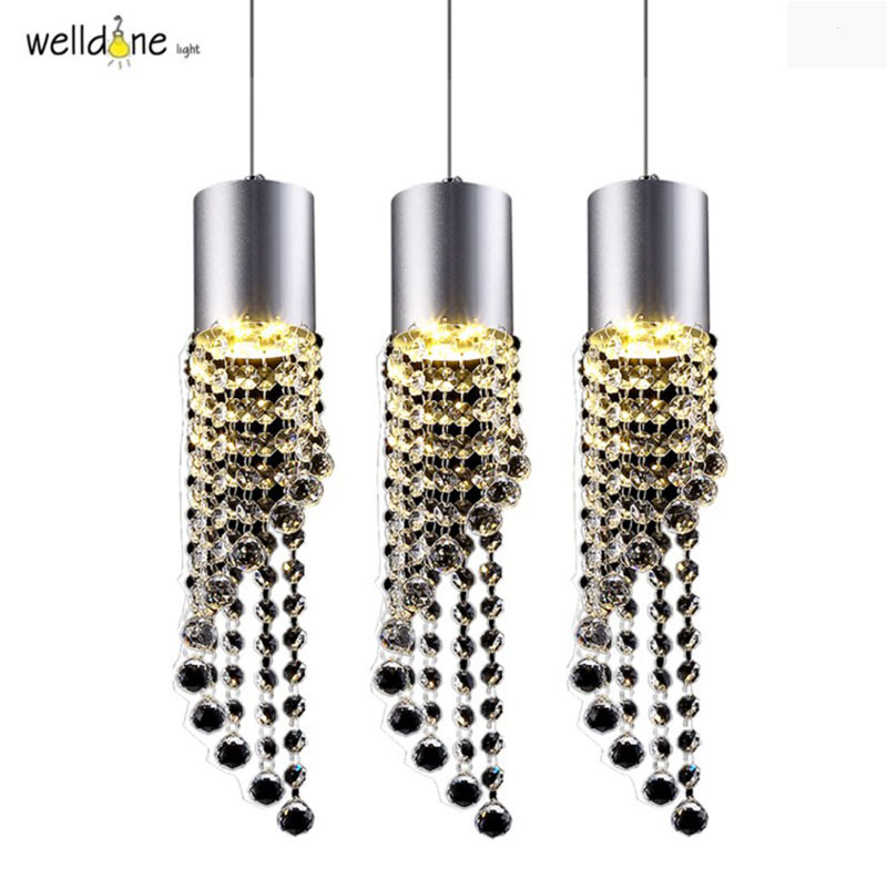 Modern simple Led Backplate crystal Pendant Lamp bar club Pendant Light with 3 Lights Bar Dinning Room living lamp