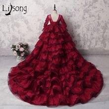 Бордовое кружевное Пышное Платье для девочек с оборками в несколько