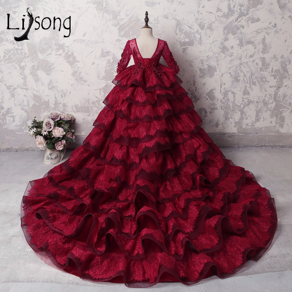Burgundy Lace Lush Pageant Dresses For Girls Ruffles Tiered 3D Flower Ball Gowns Kids Full Sleeves First Communion Dresses Beads