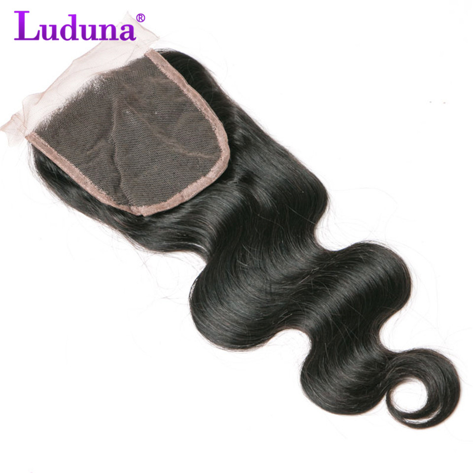 Luduna Hair Brazilian Body Wave Lace Closure 4*4 Free Part 100% Non-remy Human Hair Weave Natural Black Color 8-20 Inch