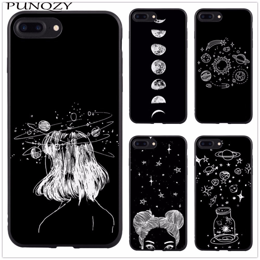 77 Space Love Moon Astronaut For Cases Iphone 6 6s 7 8 Phone Case Pattern Soft Tpu Silicone Cover For Apple Iphone 6 6s 7 8 Case Half-wrapped Case