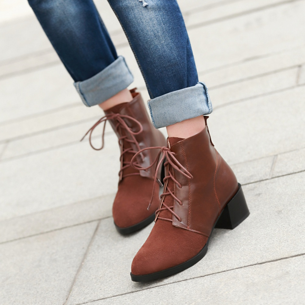Fashion Vintage Thick Low Heels Platform Ankle Boots 2014 autumn ...