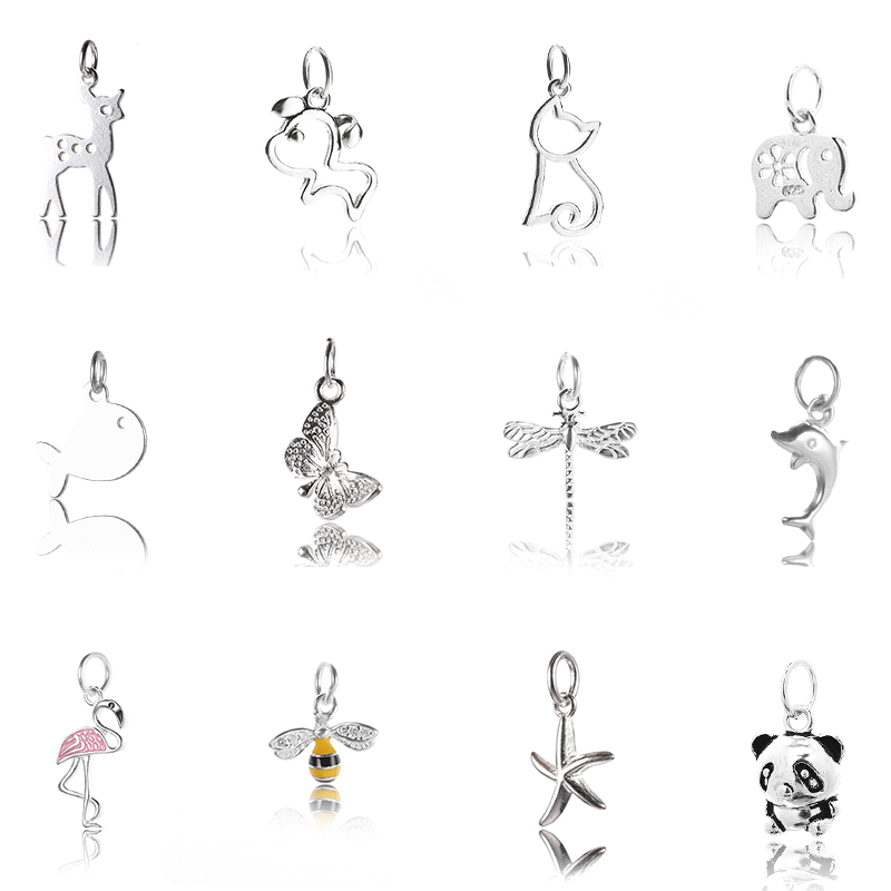 one piece 925 sterling silver pendant of cute Animals for Women Sterling Silver Jewelry making Necklace bracelet accessories in Charms from Jewelry Accessories