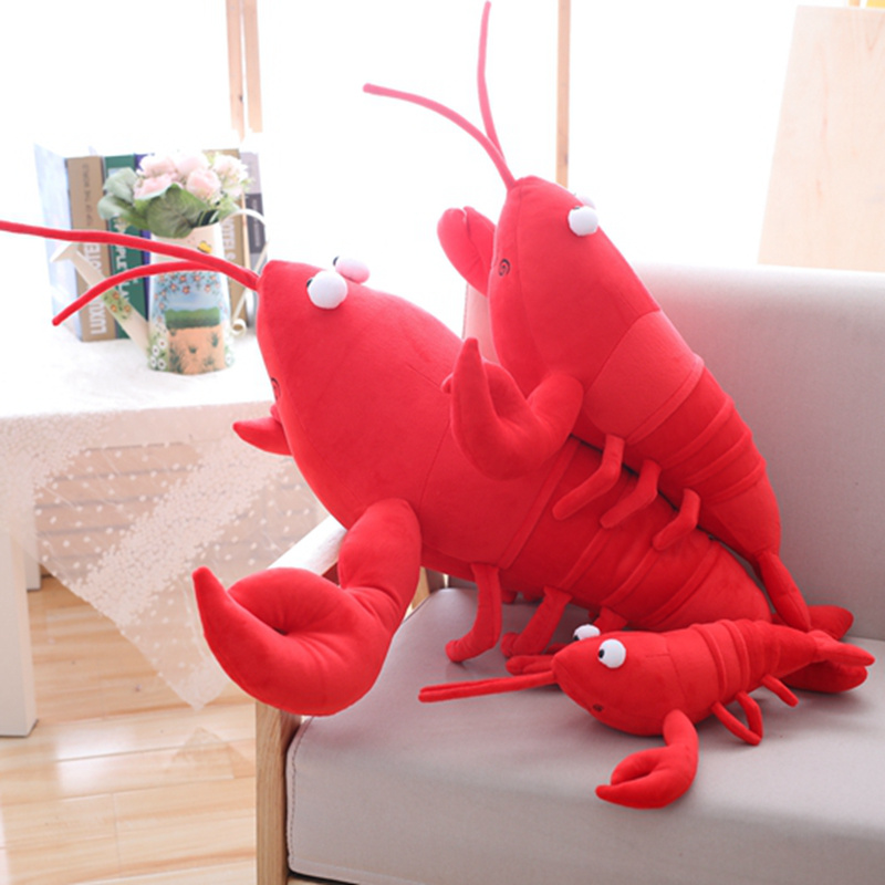 1PC Simulation Lobster Plush Toy Doll Stuffed Sea Animal Lobster Pillow Creative Soft Kid Toys 30/55/80cm