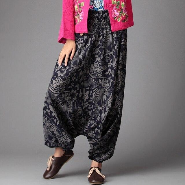 a6c53d9851b Harem Pants Women Loose Drop Crotch Unisex Pants Big Size Ethnic Floral  Print Hip Hop Baggy Couple Trousers Nepal Pants