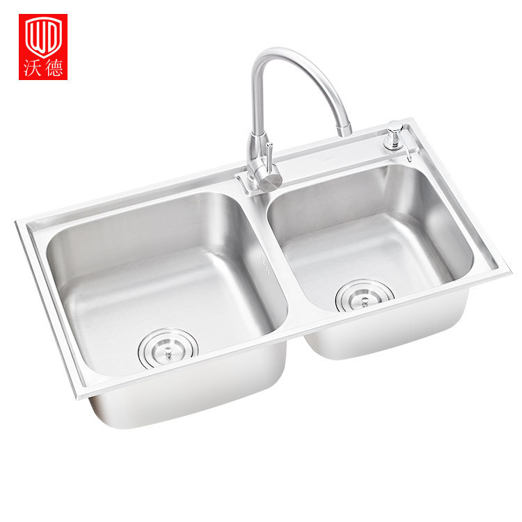 One-piece Thickened Double Tank SUS304 Stainless Steel Sink Home Kitchen Filter Sink with Drain Assembly Waste Strainer Basket 450x390x200mm 304 stainless steel kitchen sink brushed single bowl slot vegetable trough tank with faucet basket drain assembly