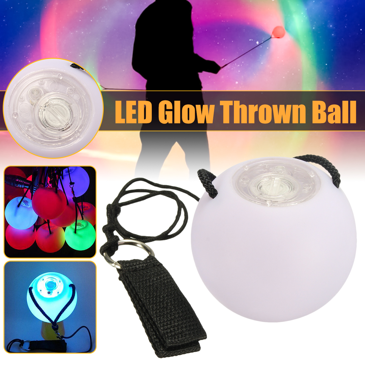 2Pcs LED Balls Belly Dance POI Light Multi-Colored Glowing Thrown Level Hand