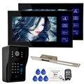 Новый Проводной 7 дюймов Цвет Видео-Телефон Двери Домофон 2 Монитор + RFID Клавиатуры Камеры + 250 мм Удар Lock FREE ДОСТАВКА