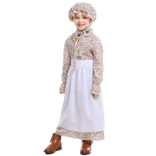 Kids Girls Colonial Costume Pioneer Pilgrim With Bonnet Full Sets Cute Floral Dress Halloween Carnival Party Stage Performance