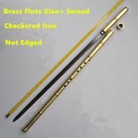 Metal Flüt Xiao + Kılıç G Anahtar Tai Chi Vücut Geliştirme Kılıç Flauta Dövüş sanatları Kılıç Flüt Enine Flüt Kendini savunma Silah