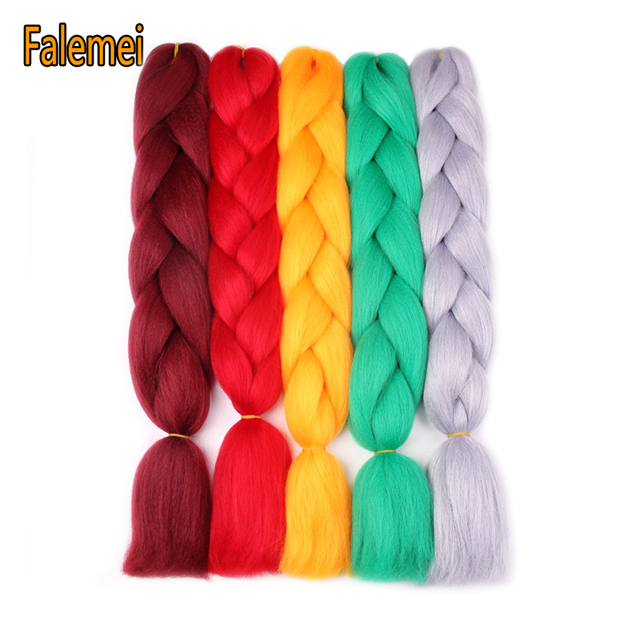 Hair Extensions & Wigs Falemei 24 100g Expression Jumbo Braiding Hair Kanekalon Braiding Hair Purple Green Synthetic Hair Braiding 29colors Hair Braids