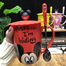 Mickey Winnie Pooh Cartoon Mug with Covered Spoon Minnie Breakfast Milk Coffee Cup Student Beverages Ceramic Disney Gifts