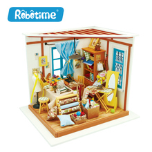 Robotime DIY Doll House With Light 3D Wooden Puzzle Handmade Crafts Girls Gifts Lisa's Tailor House