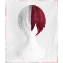 Mi héroe Academia Boku no Hiro Akademia Shoto Todoroki Shouto blanco y rojo  Cosplay peluca Cap 6871f36078c6