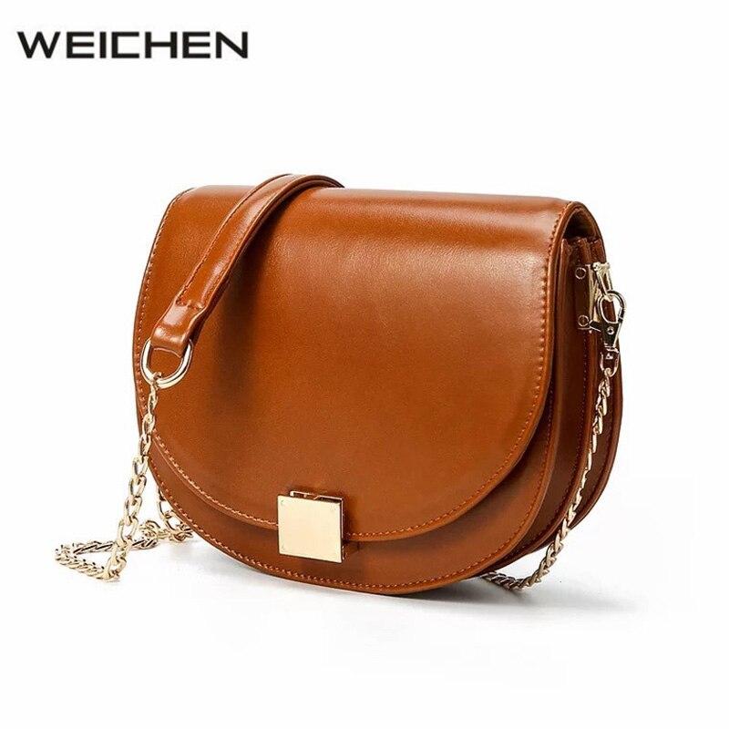 Vintage Brown Women Messenger Bags Female 2018 HaLf Moon PU Shoulder Bags Lady Crossbody Bag Girl Brand Handbag drop shipping