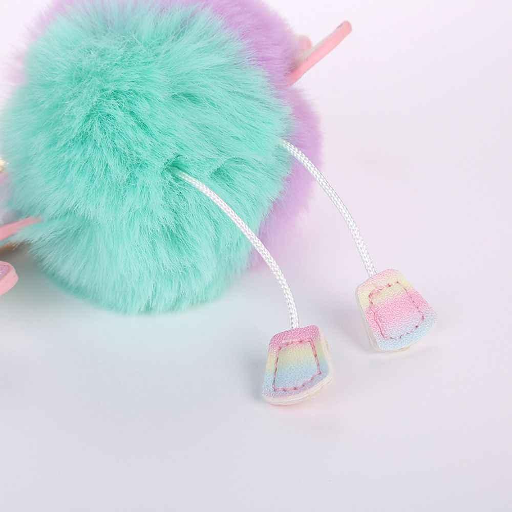 1 PC Mulheres Fofo Unicórnio Dos Desenhos Animados Sacos Coloridos Acessórios De Peles Artificiais Bolsa Chaveiro Pingente Moda Jóias 8 Cores