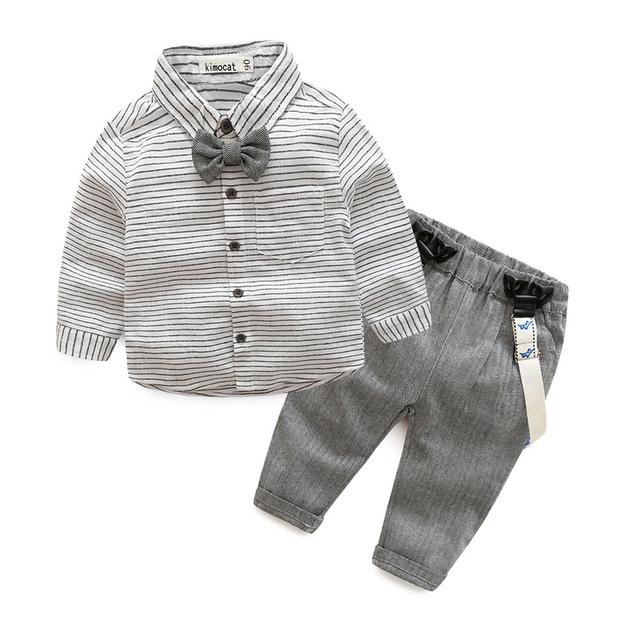 Bebê recém-nascido roupas de bebê cavalheiro menino cinza camisa listrada + macacão roupas de bebê menino moda