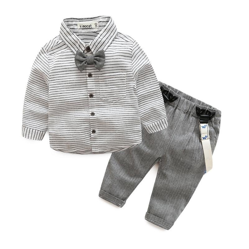 Newborn baby clothes children clothing gentleman baby boy grey striped shirt+overalls fa ...