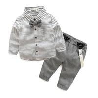 Newborn Baby Clothes Gentleman Baby Boy Grey Striped Shirt Overalls Fashion Baby Boy Clothes