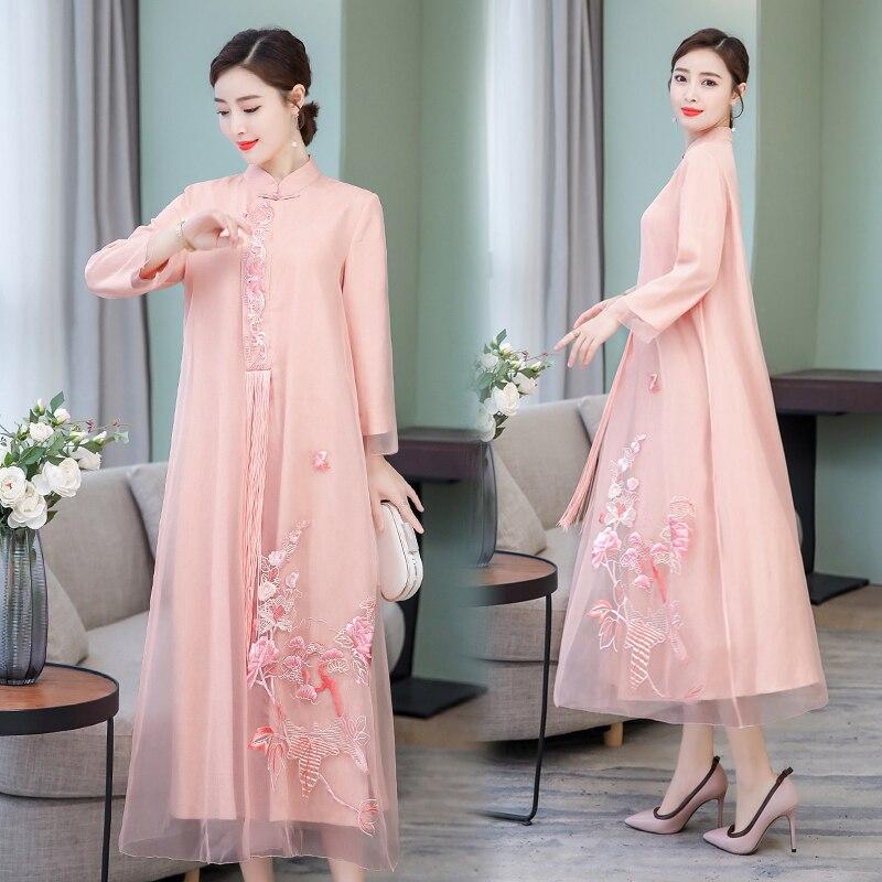 2019 verano vestido chino chica vestido de dama de honor vestidos de fiesta boda mejorado las mujeres qipao cheongsam elegante baile de graduación vestidos - 2