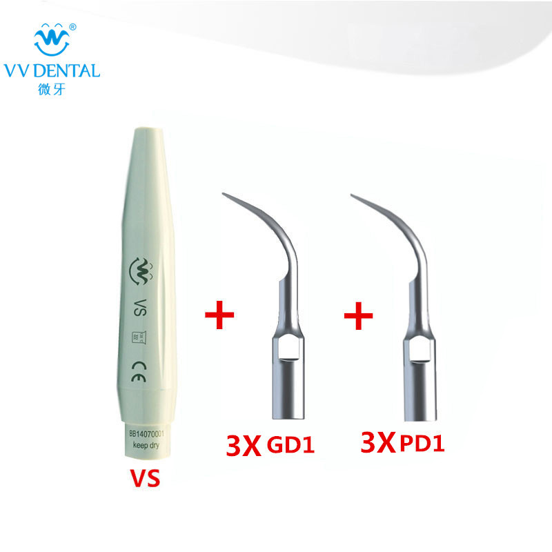 Ultrasonic Dental Scaler Handpiece and Scaler Tips Compatible With SATELEC/DTE/GNATUS for Teeth Whitening Equipment dental care 6 scaler tips and one ultrasonic dental scaler handpiece compatible with satelec dte gnatus dental material