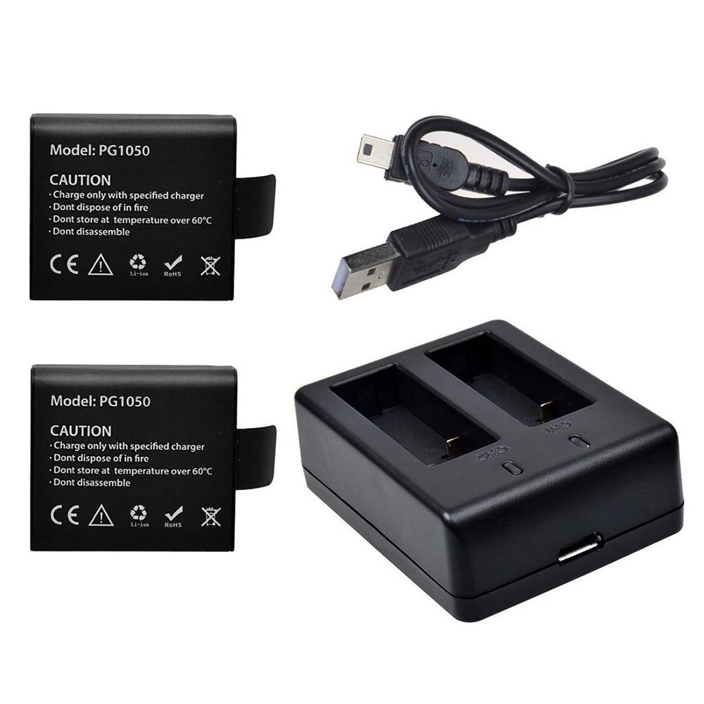 2x1050 mAh Cámara de Acción Baterías con el cargador dual del USB para sjcam sj4000 (WiFi) sj5000 sj6000 sj7000 eken H9 h9r soocoo apeman