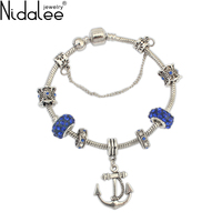 Nidalee Brand 2017 New Fashion Vintage Anchor Crystal Bead Charm Bracelets For Women Weddings Party Chain