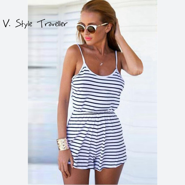 7e09da4fdf4b Summer Style Striped Cami Jumpsuit Women Shorts Casual Bodycon Cheap  Clothes China Sexy monos mujer macacao feminino Playsuit